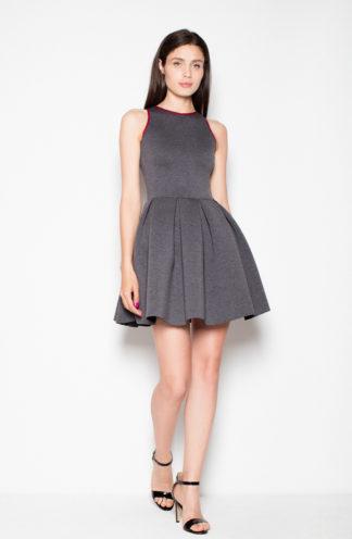 Rozkloszowana sukienka z zakładkami szary-bordo