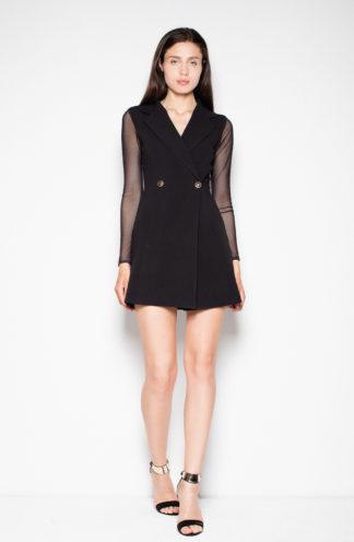 Sukienka z prześwitującymi rękawami czarna