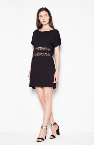 Sukienka z koronkową talią czarna