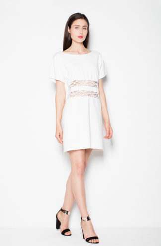 Sukienka z koronkową talią ecru