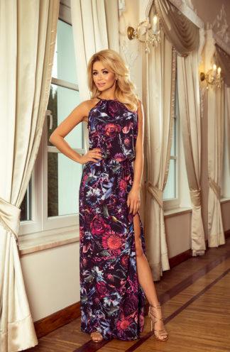 Długa sukienka wiązana fioletowe kwiaty