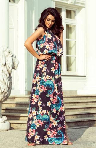 Długa sukienka wiązana granatowa w kwiaty