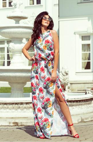 Długa sukienka wiązana biała w kwiaty