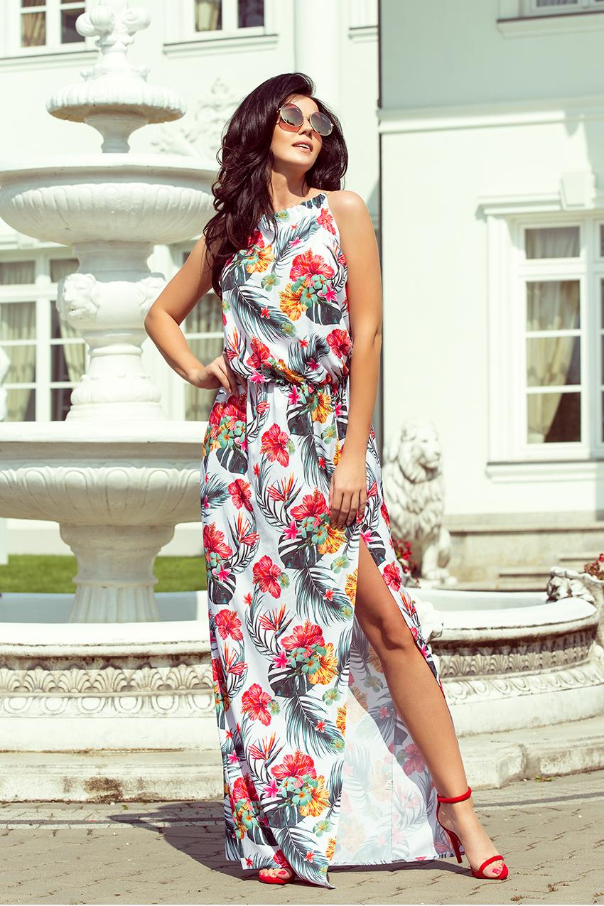 długie sukienki w kwiaty pod szyje