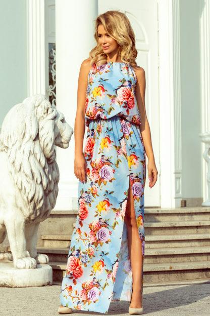 Długa sukienka wiązana błękitna w kwiaty