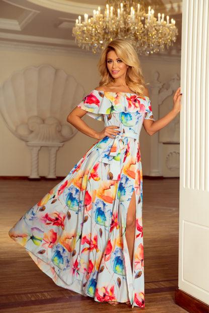 Długa suknia hiszpanka kolorowe kwiaty