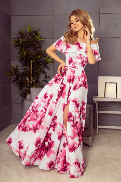 Długa suknia hiszpanka różowe kwiaty