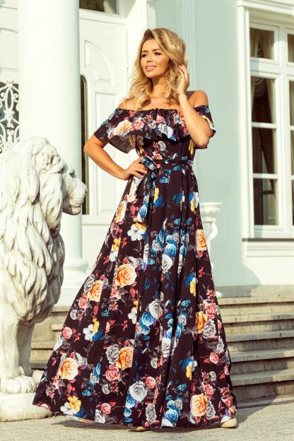 Długa suknia hiszpanka czarna w kwiaty