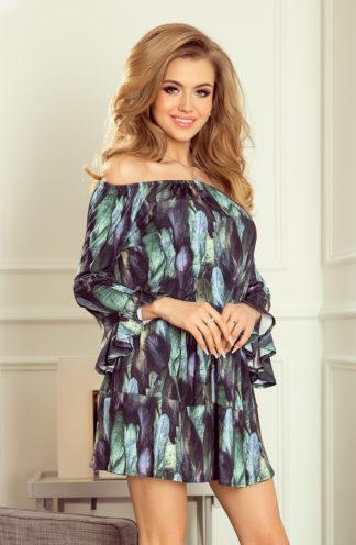 Zwiewna sukienka hiszpanka pióra