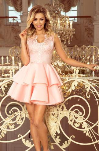 Sukienka rozkloszowana z podwójną falbaną jasny róż