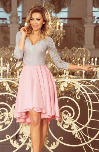Sukienka na wesele z koronką różowa-szara