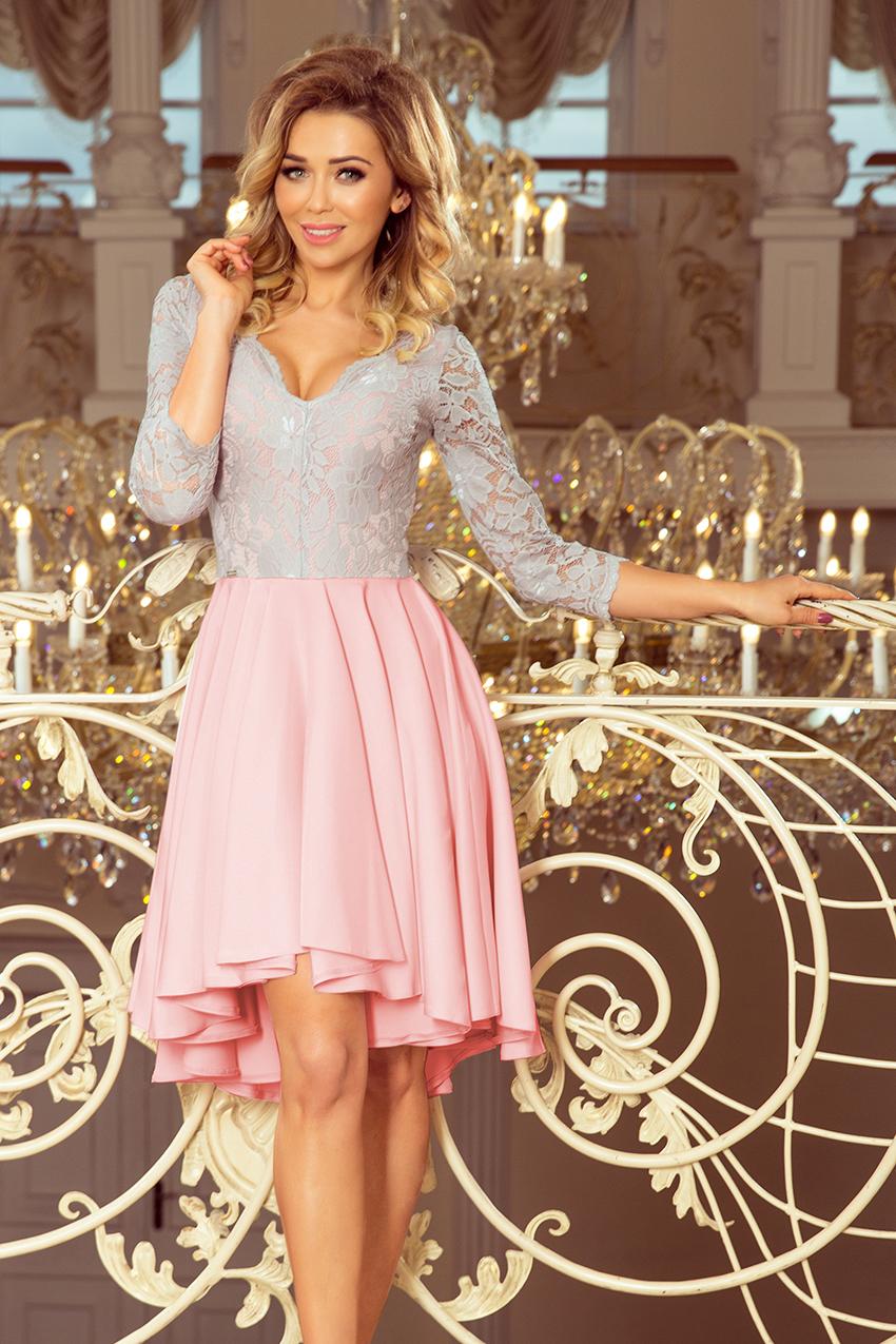 d5a4833511 Sukienka na wesele plus size z koronkową górą różowo-szara ...