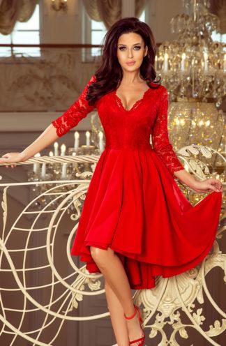 Sukienka na wesele z koronką czerwona