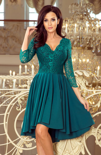 Sukienka na wesele z koronką butelkowa zieleń