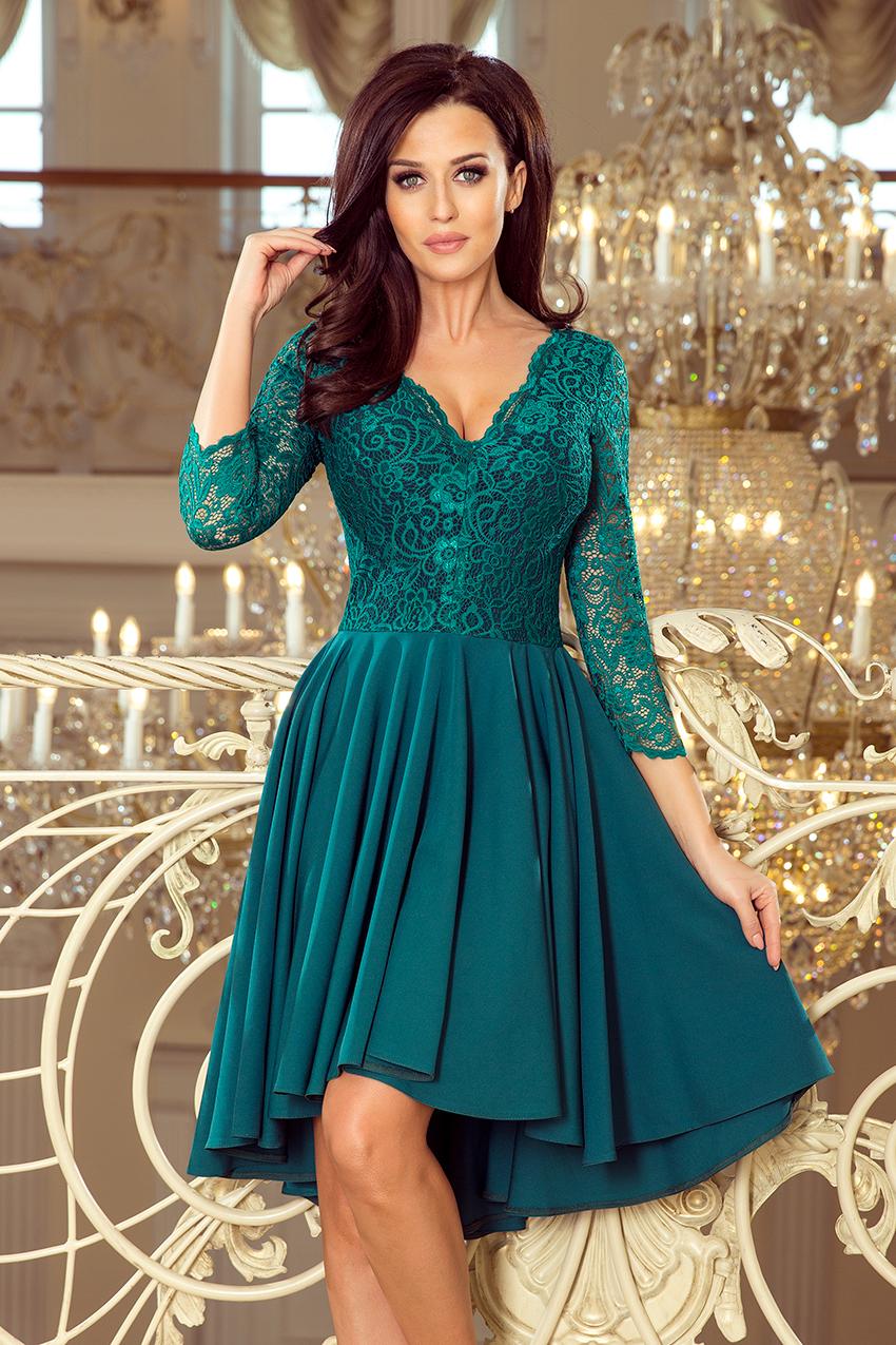 a2ed7e1559 Sukienka na wesele plus size z koronkową górą butelkowa zieleń ...
