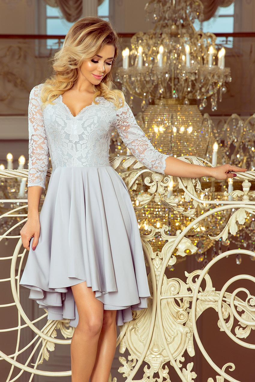 7a8a1d624a Sukienka na wesele plus size z koronkową górą szara · 13Sukienek.pl