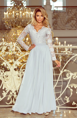 Suknia z długim rękawem szara