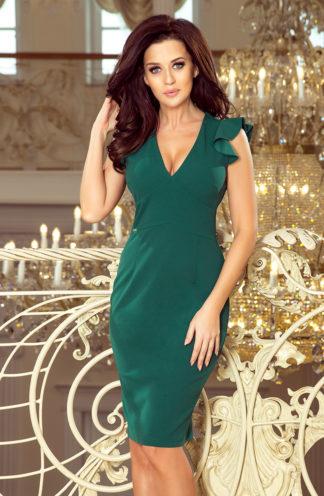 Sukienka biznesowa z dekoltem zieleń