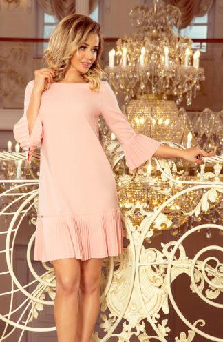 Sukienka z plisowaną falbaną brzoskwiniowa