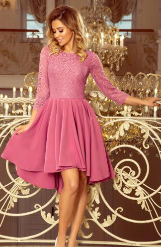 Sukienka z koronkową górą i rękawem fiolet