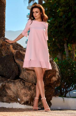 Ekskluzywna sukienka z plisowaną falbaną róż