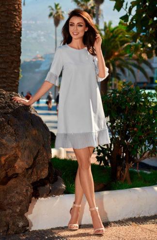 Ekskluzywna sukienka z plisowaną falbaną szara