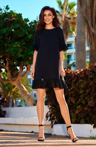 Ekskluzywna sukienka z plisowaną falbaną czarna