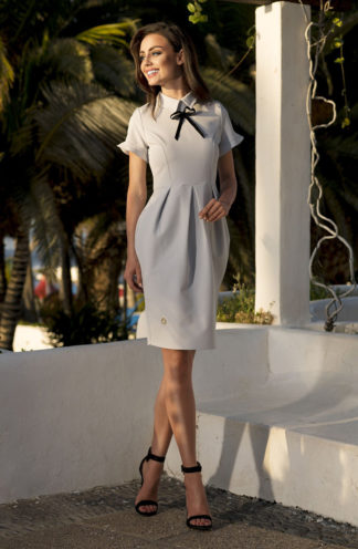 Sukienka biznesowa szara z kokardką