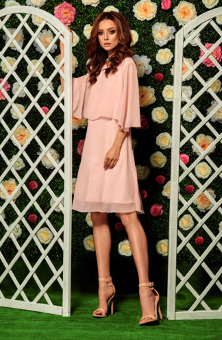 Sukienka koktajlowa z szyfonu róż