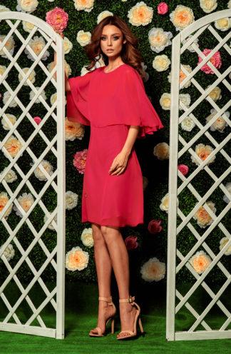 Sukienka koktajlowa z szyfonu malinowa