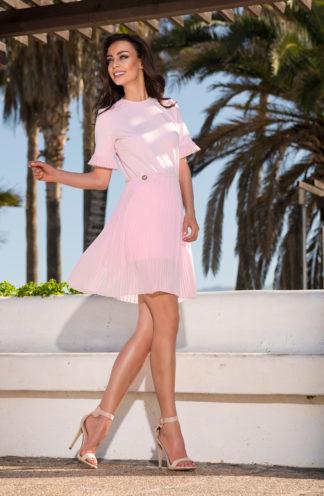 Sukienka z plisowaną spódnica róż