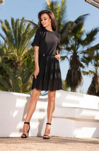 Sukienka z plisowaną spódnica czarna