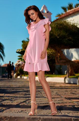 Sukienka z rękawami z falban róż