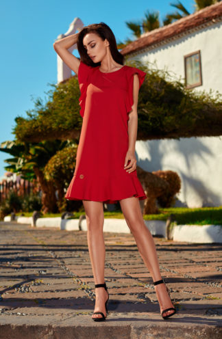 Sukienka biznesowa z rękawami z falban czerwona