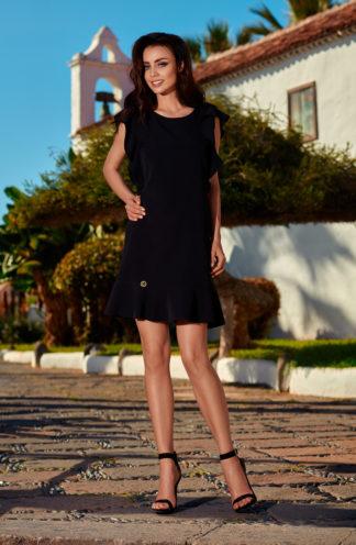Sukienka biznesowa z rękawami z falban czarna