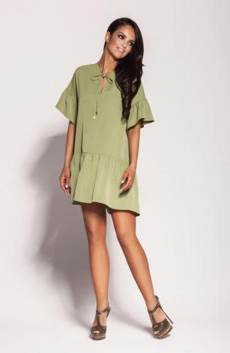 Luźna sukienka mini khaki
