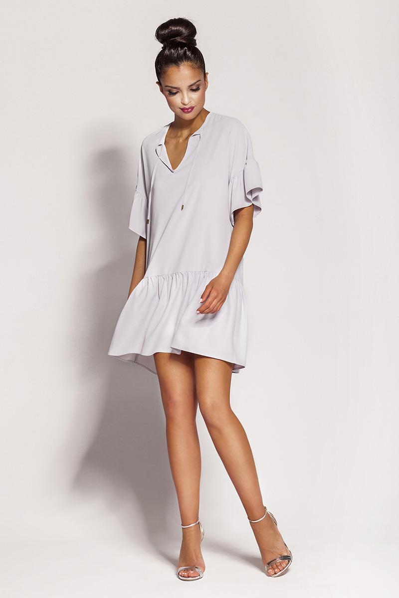Luźna sukienka mini szara