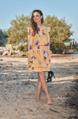 Sukienka z wyciętymi ramionami żółte kwiaty