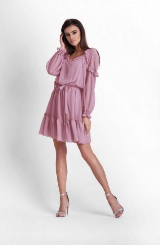 Ekskluzywna sukienka z szyfonu różowa