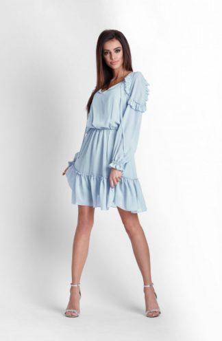 Sukienka z szyfonu z falbankami niebieski