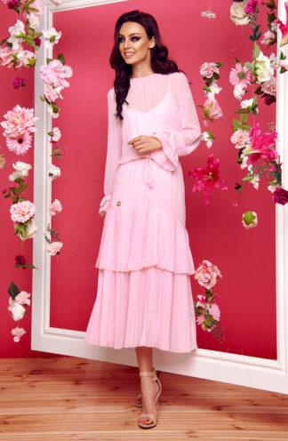 Szyfonowa sukienka z falbanami róż