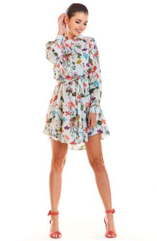 Sukienka z kołnierzykiem w kwiaty ecru