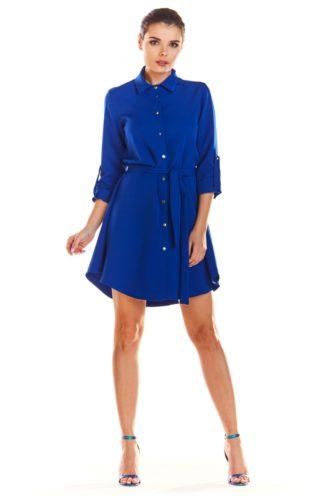 Biznesowa sukienka z guzikami niebieska