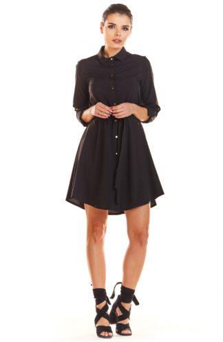 Biznesowa sukienka z guzikami czarna