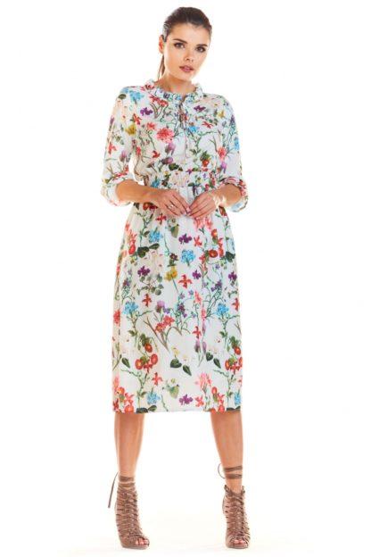 Sukienka midi w kwiaty ecru