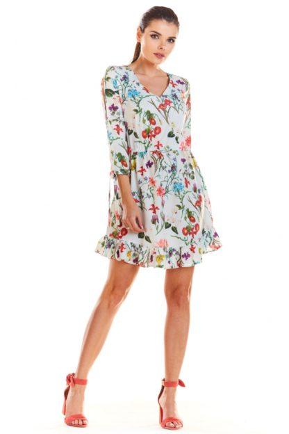 Sukienka z dekoltem w serek w kwiaty ecru