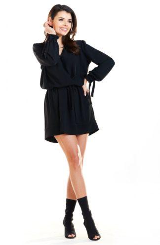 Elegancka sukienka z wiązaniami czarna