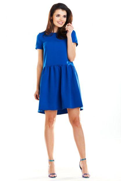 Sukienka dzienna z rękawkiem niebieska