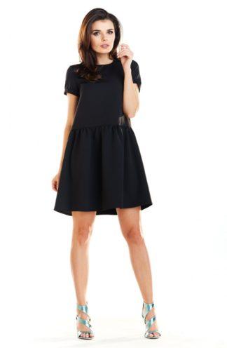 Sukienka dzienna z rękawkiem czarna