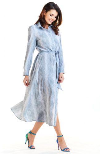 Sukienka midi z kołnierzykiem jasny szary